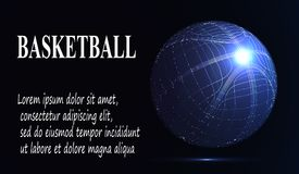 Silhouette of a basketball ball.. Eps10. Silhouette of a basketball ball. Dots, lines, triangles, text, color effects and background on a separate layers, color Stock Photos