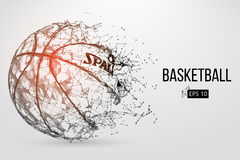 Silhouette of a basketball ball. Vector illustration. Silhouette of a basketball ball. Dots, lines, triangles, text, color effects and background on a separate Stock Photo