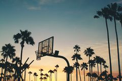 Silhouette of Basketball Hoop during Dusk royalty free stock photo