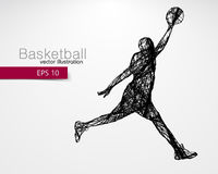 Silhouette of a basketball player. Royalty Free Stock Images
