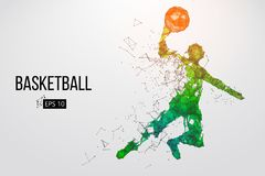 Silhouette of a basketball player. Vector illustration. Silhouette of a basketball player. Dots, lines, triangles, color effects and background on a separate vector illustration