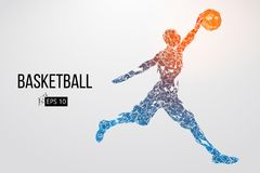 Silhouette of a basketball player. Vector illustration. Silhouette of a basketball player. Dots, lines, triangles, color effects and background on a separate stock illustration