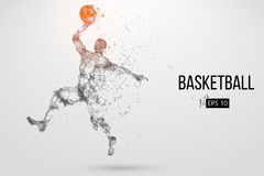 Silhouette of a basketball player. Vector illustration. Silhouette of a basketball player. Dots, lines, triangles, color effects and background on a separate royalty free illustration