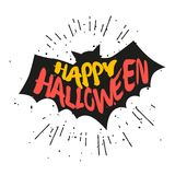 Silhouette of bat with lettering text Happy Halloween. Vector sticker Royalty Free Stock Image