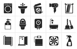 Silhouette Bathroom and toilet objects and icons Stock Images