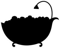 Silhouette bathtub Stock Photography