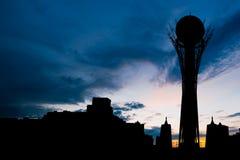 Silhouette Bayterek tower in Astana capital of Kazakhstan on beautiful sunset Royalty Free Stock Image