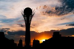 Silhouette Bayterek tower in Astana capital of Kazakhstan on beautiful sunset Royalty Free Stock Photography