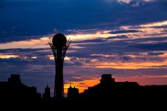 Silhouette Bayterek tower in Astana capital of Kazakhstan on beautiful sunset Stock Photography