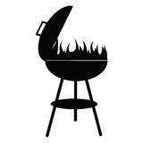 Silhouette of BBQ isolated on white,  Royalty Free Stock Image