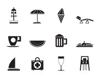 Silhouette beach and holiday icons Royalty Free Stock Photo