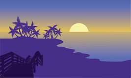 Silhouette of beach with moon Royalty Free Stock Image