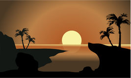 Silhouette of beach and moon Royalty Free Stock Photo