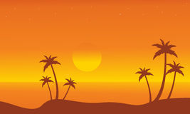 Silhouette of beach on orange backgrounds Royalty Free Stock Photos