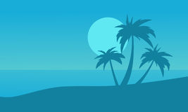 Silhouette of beach and palm on blue backgrounds Stock Photo