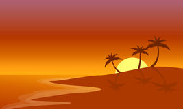 Silhouette of beach and palm at sunrise. Vector illustration Stock Photography