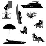 Silhouette of beach recreation Stock Images