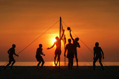 Silhouette beach volleyball Stock Image