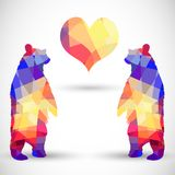 Silhouette a bear of geometric shapes Stock Photos