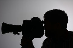 Silhouette bearded Man Movie Camera aside Stock Images