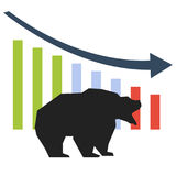 Silhouette of bearish symbols. Bearish symbols. Stock market trends. The falling market Stock Images