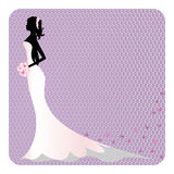 Silhouette of beautiful bride in lace dress, place for your text Stock Photo