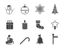 Silhouette Beautiful Christmas And Winter Icons Stock Photos