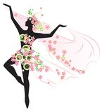 Silhouette of beautiful dancing woman Royalty Free Stock Photos