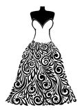 Silhouette of a beautiful dress with a floral elem Stock Images