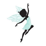 Silhouette of beautiful fairy. She is flying and she is in a blue gentle, air dress. Hand drawn, isolated on white background Stock Photos