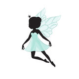 Silhouette of beautiful fairy. Fairy is flying. She is in a blue gentle, air dress. Hand drawn, isolated on white background Stock Image