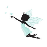Silhouette of beautiful fairy. She is flying with butterfly. She is in a blue gentle, air dress. Hand drawn, isolated on white background Stock Image