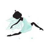 Silhouette of beautiful fairy. She is flying with butterfly. She is in a blue gentle, air dress. Hand drawn, isolated on white background Royalty Free Stock Images