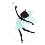 Silhouette of beautiful fairy. She has a magic wand in her hand and she is in a blue gentle, air dress. Hand drawn, isolated on white background Royalty Free Stock Photo