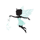 Silhouette of beautiful fairy. She has a magic wand in her hand and she is in a blue gentle, air dress. Hand drawn, isolated on white background Stock Photography