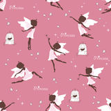 Silhouette of beautiful fairy. Seamless pattern with silhouette of fairy, magical crystal and bird on pink background. Retro seamless pattern. Hand drawn Stock Images