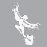 Silhouette of beautiful fairy. Template fairy for cut of laser or engraved. Stencil for paper, plastic, wood, laser cut acrylic. Decoration for windows, wall Royalty Free Stock Image