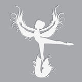 Silhouette of beautiful fairy. Template fairy for cut of laser or engraved. Stencil for paper, plastic, wood, laser cut acrylic. Decoration for windows, wall Royalty Free Stock Photography