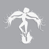 Silhouette of beautiful fairy. Template fairy for cut of laser or engraved. Stencil for paper, plastic, wood, laser cut acrylic. Decoration for windows, wall Royalty Free Stock Photos
