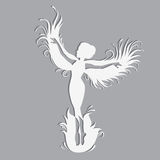 Silhouette of beautiful fairy. Template fairy for cut of laser or engraved. Stencil for paper, plastic, wood, laser cut acrylic. Decoration for windows, wall Stock Images
