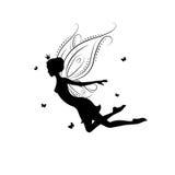 Silhouette of beautiful fairy. Stock Image