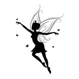 Silhouette of beautiful fairy. Stock Photo