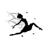 Silhouette of beautiful fairy. Stock Images