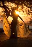 Silhouette of beautiful fashionable woman in long dress walking on sunset city road Royalty Free Stock Photography