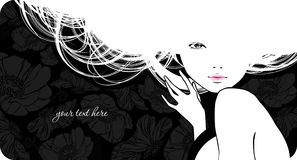 Silhouette beautiful girl. Background with silhouette beautiful girl Stock Image