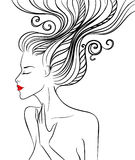 Silhouette of a beautiful girl with swirl hair Royalty Free Stock Photos