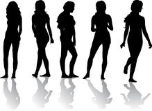 Silhouette of beautiful girls Stock Images