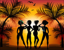 Silhouette of beautiful girls Royalty Free Stock Image