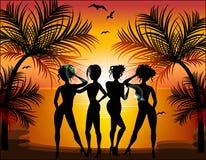 Silhouette of beautiful girls Royalty Free Stock Image