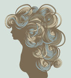 Silhouette of beautiful hand drawn woman Royalty Free Stock Images